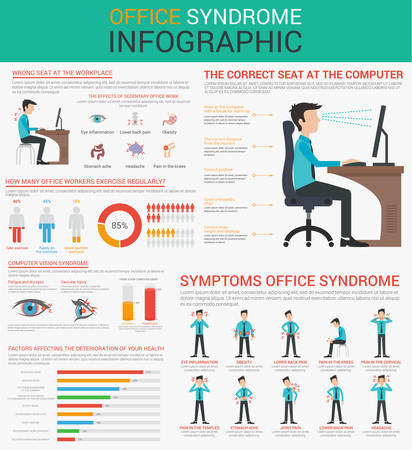 chronic back pain: Office syndrome Infographics presentation design with graphics, diagrams, graphs. Concept Vector flat illustration. Presentation template Design. Wrong sitting in the workplace.