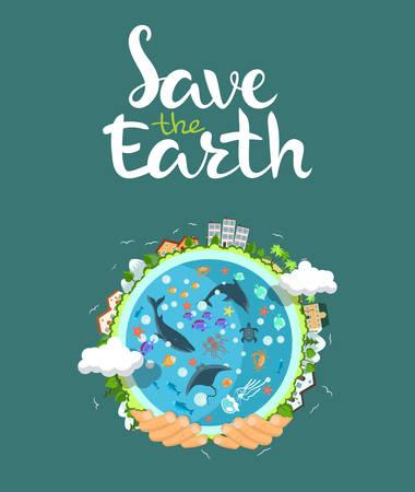 Dag concept van de Aarde. Menselijke handen met zwevende wereldbol in de ruimte. Red onze planeet. Platte stijl vector geïsoleerde illustratie.