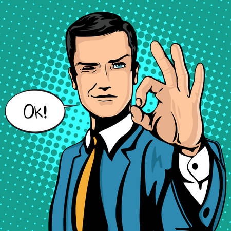 Vector illustration of successful businessman gives ok in vintage pop art comics style. Likes and positive feel. Gesture good, agree and smile. Illustration