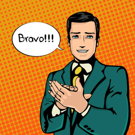 feel good: Vector illustration of successful businessman applause in vintage pop art comics style. Likes and positive feel. Gesture good, agree and smile.