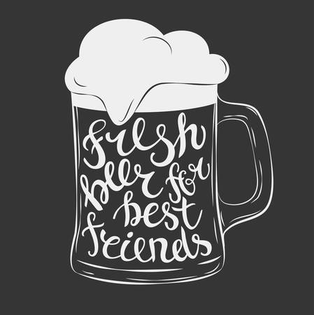 fresh: Vector mug of beer lettering fresh beer for best friend. Hand Drawn lettering for with mug of beer. Vintage illustration. Great for pub menu, announcement of the beer festival or brewery poster Illustration