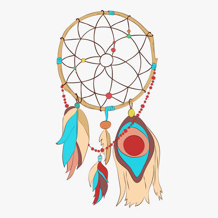 Magical dreamcatcher with sacred feathers to catch dreams pictogram icon abstract vector illustration. Dream catcher with indian vector feather.