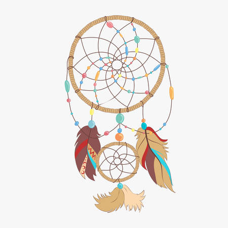 Vector dreamcatcher. Dream catcher with indian vector feather. Magical dreamcatcher with sacred feathers to catch dreams pictogram icon abstract vector illustration. Çizim