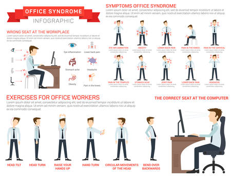 Vector flat illustration for office syndrome. Eyes inflammation, obesity, stomach ache, knees pain, headache, hands pain, lower back pain. Wrong sitting in the workplace.