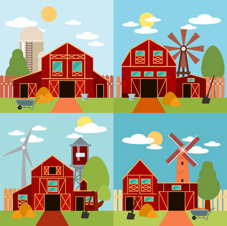 granary: Farm in the village flat Landscape. Natural background, organic farm products. Tree and farm house elements. Set of elements - barn, tractor, building, windy mill, harvest, farming