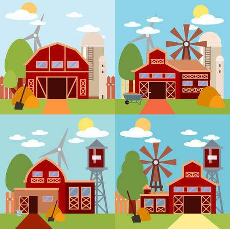 granary: Natural background, organic farm products. Farm in the village flat Landscape. Tree and farm house elements. Set of elements - barn, tractor, building, windy mill, harvest, farming Illustration