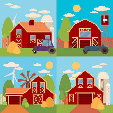 farm house: Tree and farm house elements. Natural background, organic farm products. Farm in the village flat Landscape. Set of elements - barn, tractor, building, windy mill, harvest, farming