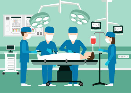 Vector medical concept Surgeons in operation theater. Room with people, scalpel and screen disease and pulse patient, assistant doctor illustration. Team doctors in the operating room with the patient