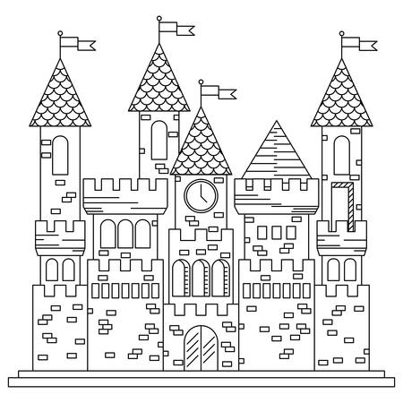 turrets: Fairytale royal thin line castle or palace building with various windows, towers and turrets with battlements and flags. Children book, adventure, medieval history themes design Illustration