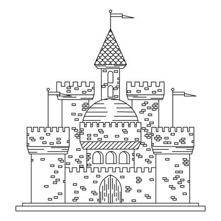 old door: Fairytale royal thin line castle or palace building with various windows, towers and turrets with battlements and flags. Children book, adventure, medieval history themes design Illustration