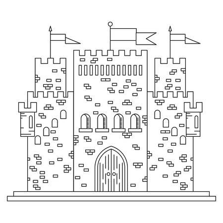 Fairytale castle royal mince ligne ou de construction de palais avec différentes fenêtres, tours et tourelles crénelées et des drapeaux. Les enfants livre, aventure, conception de thèmes d'histoire médiévale