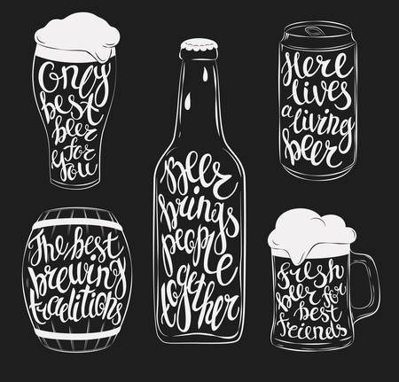 Beer pint glassware and bottle, wooden barrel and steel or aluminium beverage can silhouettes. Lettering with beautiful font or type on mug, stein, jug with cask ale and lager, bright and dark beer. Emblem for bar and restaurant