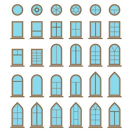 hopper: Set of different icons window and windowpane. pane types like eyebrow with curved top and casement, hopper and pivot, awning and single-hung or double-hung sash for house or home Illustration
