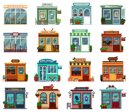 shop furniture: Stores and shops exterior street view collection for buying cars and motorcycles. Bikes and crockery, electronic and plumbing, hunting and fishing, furniture, meat and fish, vegetable and spices, boutique and hats, beauty shop and glasses for sale