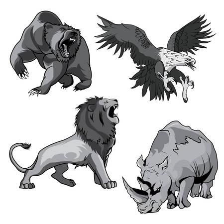 zoologico: rinoceronte enojado y feroz en el zoológico y el halcón peligroso o agresivo o halcón, águila caza de presas, rugido horribilis Grizzly Bear elevar la garra y la sabana aterrador león felina en estilo de dibujos animados. Utilizar para el tatuaje o mascota de diseño