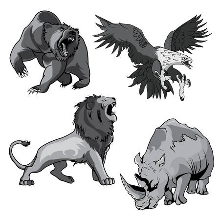 Angry and ferocious rhino in zoo and dangerous or belligerent hawk or falcon, eagle hunting for prey, roaring grizzly horribilis bear raising claw and savannah terrifying feline lion in cartoon style. Use for tattoo or mascot design