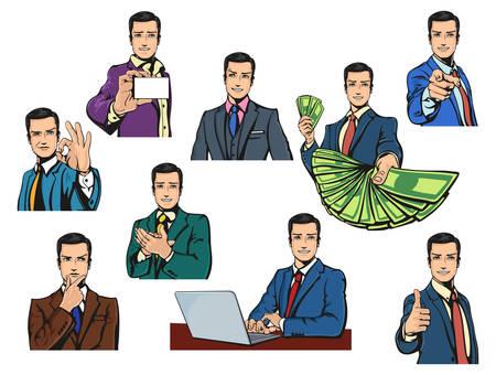 face: exitoso hombre de negocios con una sonrisa o mueca en cómics retro pop o el estilo de dibujos animados con diferentes gestos como los pulgares hacia arriba o bien, aplausos o señalar con el dedo, que ofrece dinero o pensar, o mostrando la tarjeta de visita de trabajo con el cuaderno