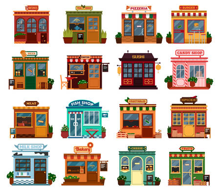 Collection of exterior street view of shop buildings with tables and chairs for buying groceries and spices. food, drink. Wine and tea,beer and coffee, sushi and candy, meat and fish, vegetable, and milk, bakery and cheese, fruits and pizzeria market
