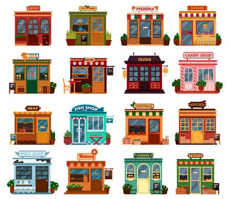Kolekcja zewnętrzny Widok ulicy budynków sklepowych ze stołami i krzesłami na zakup artykułów spożywczych i przypraw. jedzenie picie. Wino i herbata, piwo i kawę, sushi i słodycze, mięso i ryby, warzywa i mleko, pieczywo i sery, owoce i rynek pizzeria Ilustracje wektorowe