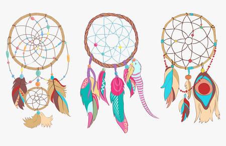 totem indien: dreamcatcher tribal ou spirituel en cerceau tissé et net ou web. folklorique sacrée protection du sommeil antique indien et ojibwe avec des plumes d'oiseaux ou piquants. totem magique traditionnelle américaine qui pend au-dessus de lit