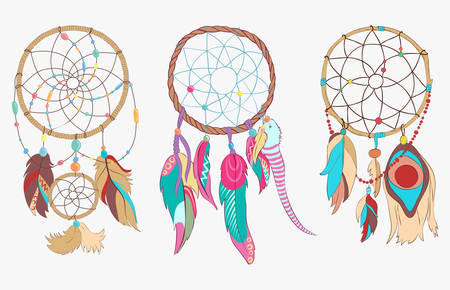 hangs: Tribal or spiritual dreamcatcher made of woven hoop and net or web. Sacred folk indian and ojibwe ancient sleep protection with bird feathers or quills. Traditional american magic totem that hangs above bed Illustration