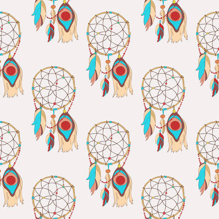 quills: Spiritual and magical dreamcatcher seamless pattern. Tribal indian sacred totem for sleep protection made of bird quills and feathers, web or net. Traditional american and ojibwe paganism symbol for superstitions about dreams Illustration