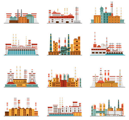 business environment: Industrial plant and factory with chimney set of icons in cartoon style. Hydro, nuclear, thermal, chemical, petrochemical dirty and heavy energy production from fuel polluting nature and environment.