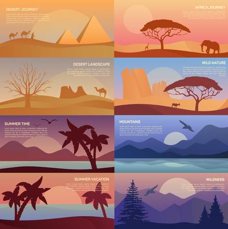 wasteland: African desert landscape with elephant and giraffe, egypt pyramids with camel caravan or convoy with bedouin, wildlife with pines and mountain at dawn, sandy beach with palms at summer sunset