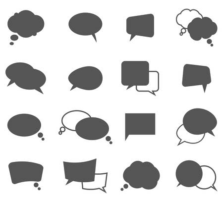 narration: Cartoon grey speech bubbles in oval and rectangle shape and clouds with trails for dialog and monolog purpose. Comic communication messages outline for discussion and thinking. Concept of talk and thought Illustration