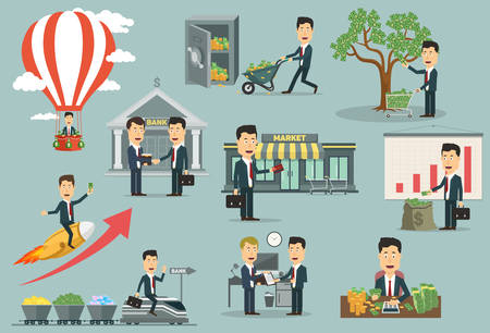 Businessman or manager in suit or costume transporting money with wheelbarrow or flying on air balloon or rocket, sealing deal near bank or buying with credit card near supermarket, calculating dollars and cents, harvest money tree or riding train