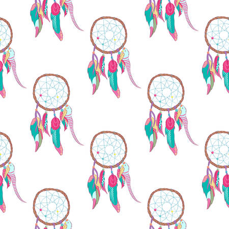 quills: Traditional indian dreamcatcher seamless pattern. Tribal ojibwe magical totem for dream protection made of bird quills and feathers, web or net. Spiritual american and indian paganism symbol