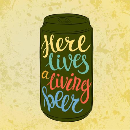 cerveza negra: Letras en acero cerveza o bebida o lata de aluminio que dice aqu� vive cerveza. Tipo de alto nivel de detalle o letras de la fuente en la lata de cerveza clara u oscura, cerveza o cerveza de barril, cerveza de malta o porter