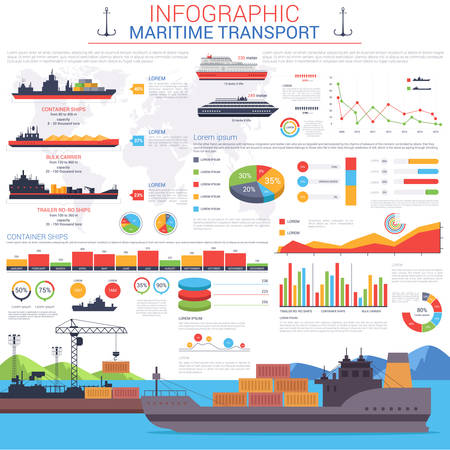 harbour: Maritime or nautical transportation infographic template. Ships with cargo or goods shipping containers to sea or ocean port or harbour visualization with linear and circle, bar charts