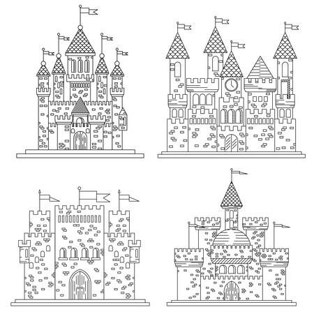 turrets: Sketch in thin line for medieval castles and fortress, citadel or chateau, royal or kings mansion or residence, stronghold or keep with flags on towers or turrets made of bricks on roof made of tile.