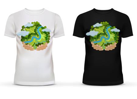 hands holding earth: Black and white sportswear men t-shirt with short sleeve and u-neck collar for adult and teenager with print or advertisement of hands holding earth globe with river and forest, clouds.