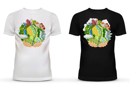 hands holding earth: T-shirt with template of hands holding earth with countryside including field and road with cars, mountains and trees, buildings or houses. Sportswear black and white t-shirt with short sleeve Illustration