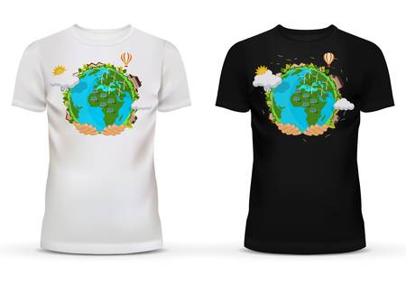 hands holding earth: Casualwear unisex black and white t-shirt with short sleeve and u-neck collar for adult or teenager with picture or print of hands holding earth with wind turbines and solar stations. Illustration