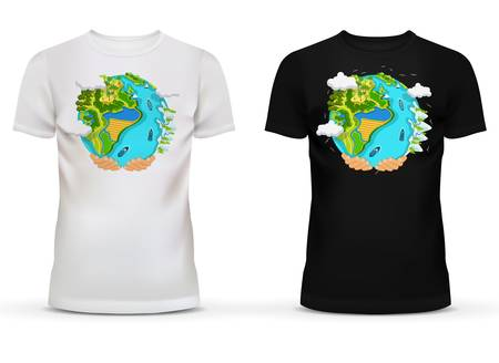 hands holding earth: Casualwear men black and white t-shirt with u-neck collar and short sleeve for teenager and adult with illustration or print of hands holding earth with field and forest, river and ocean with ships Illustration