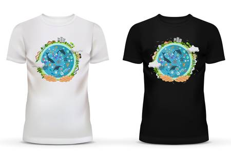 circumference: White and black sportswear t-shirt with u-neck collar and short sleeve for teenager and adult with print or advertisement of hands holding earth with houses or buildings on circumference and ocean