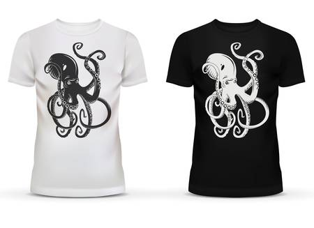 dress shirt: Print of cartoon octopus with tentacles on sportswear or casualwear unisex or men black and white cotton t-shirt with short sleeve and u-neck collar for adult or teenager usage