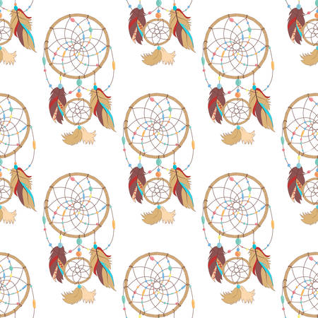 paganism: Seamless pattern of mysterious and magical indian ojibwe dreamcatcher. Tribal paganism totem symbol for superstition about sleep. Traditional american symbol for dream protection made of bird quills and feathers, woven web or net