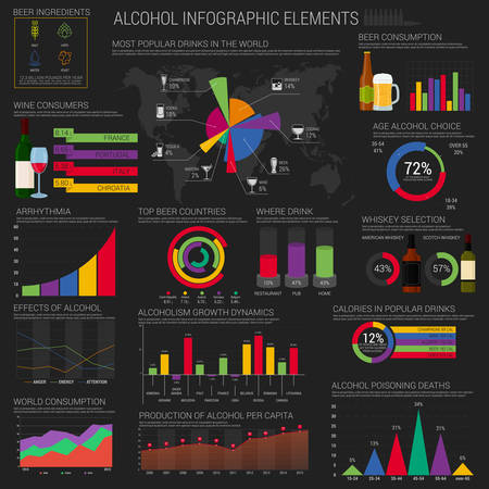 bar graph: Alcohol infographic elements template or layout with round and bar, circle and conic charts near bottles and glasses of beer and champagne, vodka and cognac, martini and tequila, world map