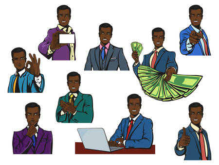 captivation: African or afro, black successful businessman with smirk or smile in cartoon or pop comics vintage style with variety gestures like thumbs up or O.K., applause or pointing finger,offering money or thinking, showing visit card or working with notebook Illustration