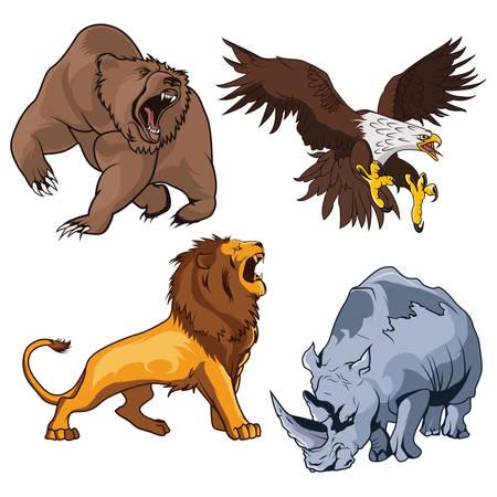 Safari aterrador felino león con cola y rugiendo horribilis Grizzly Bear elevar garra, zoológico rinoceronte feroz y peligroso y beligerante águila, halcón o halcón volando sobre la presa en estilo de dibujos animados. Se puede utilizar como tatuaje o mascota