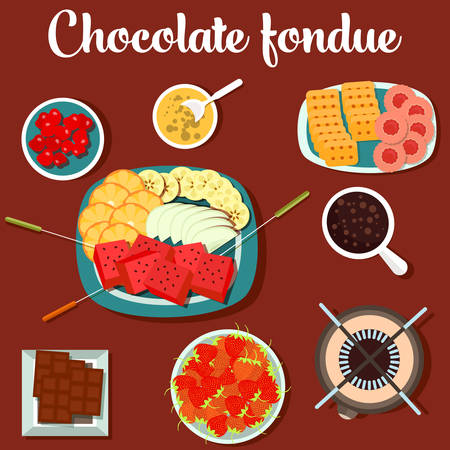 usage: Melted chocolate fondue with cookies and strawberry, lemon on plate. For menu design or restaurant usage