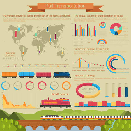 Rail transportation infographic or infochart template or layout using linear and bar, circle and pie charts with railroad or railway covered wagon, high speed passenger locomotive and goods or freight wagons Illustration
