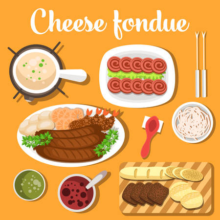 dipping: Melted cheese swiss or italian, french fondue with bread for dipping into bagna soup, raw garlic and spoon. For restaurant or menu design usage