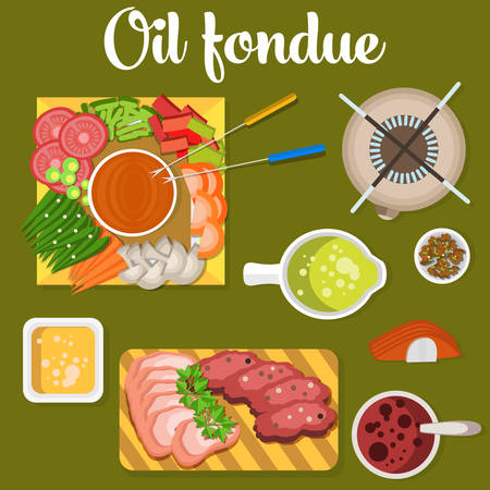 broth: Oil fondue with meat and vegetables like carrot and tomato, pea, mushroom on plates. Broth or soup in bowl. Can be used for menu or restaurant design Illustration