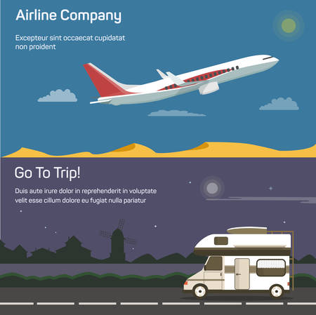 jet airplane: Airplane or jet aircraft, plane  passenger aeroplane in sky above desert and traveling or tourism car on road or route with houses and mill on background