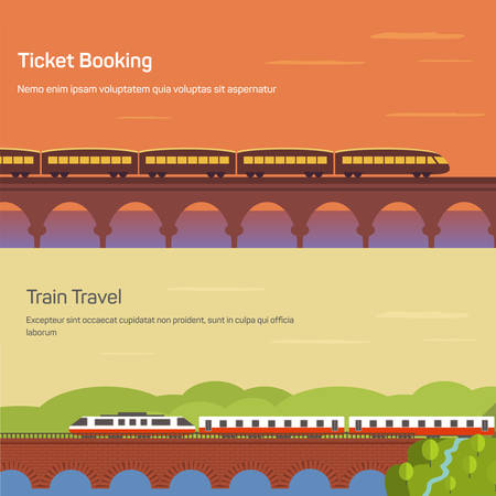 intercity: Panorama or side view of train or locomotive with wagons on bridge above river or lake at sunset and forest landscape. Concept of intercity traveling or ticket booking, tourism or journey